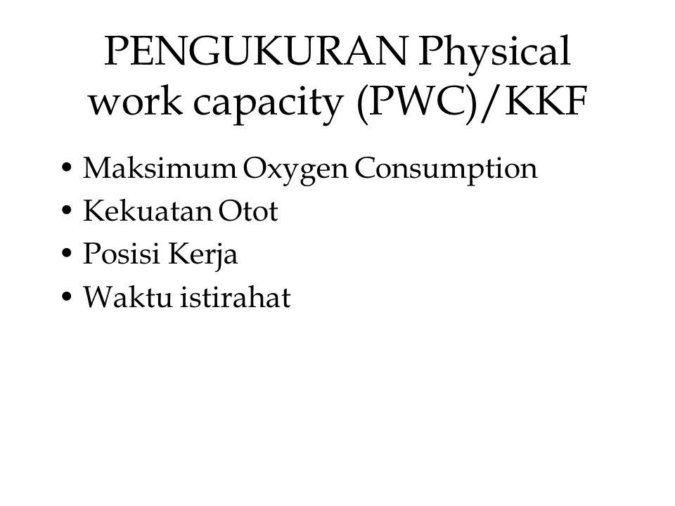 PENGUKURAN Physical work capacity (PWC)/KKF Maksimum Oxygen Consumption Kekuatan Otot Posisi Kerja Waktu istirahat