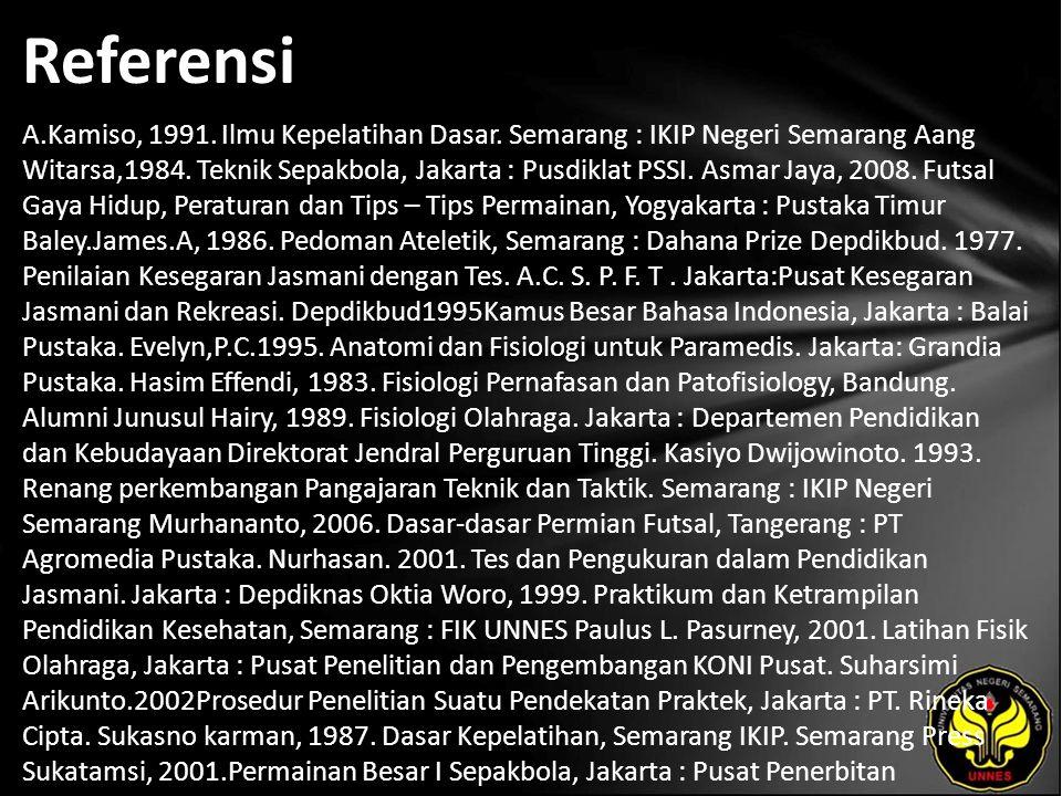 Referensi A.Kamiso, 1991. Ilmu Kepelatihan Dasar. Semarang : IKIP Negeri Semarang Aang Witarsa,1984. Teknik Sepakbola, Jakarta : Pusdiklat PSSI. Asmar