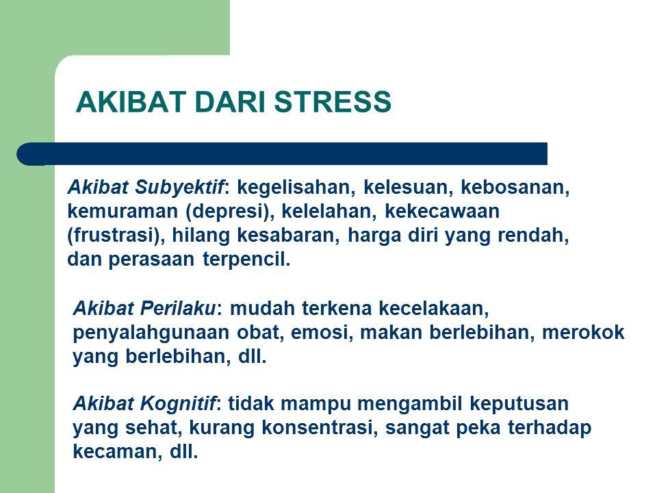 AKIBAT DARI STRESS Akibat Subyektif: kegelisahan, kelesuan, kebosanan, kemuraman (depresi), kelelahan, kekecawaan (frustrasi), hilang kesabaran, harga diri yang rendah, dan perasaan terpencil.