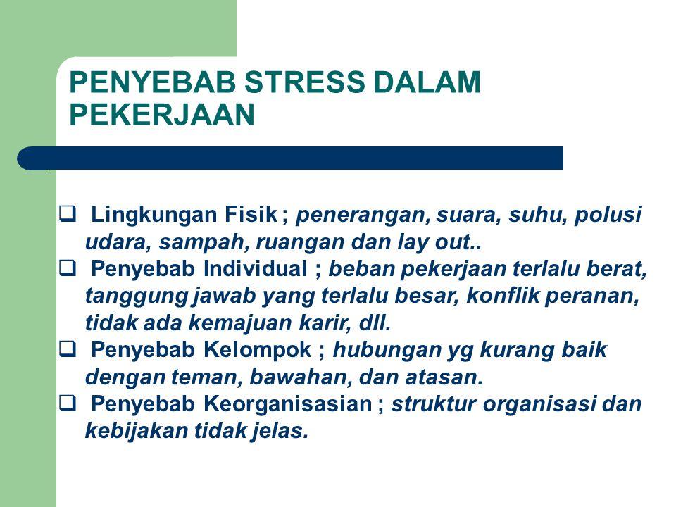PENYEBAB STRESS DALAM PEKERJAAN  Lingkungan Fisik ; penerangan, suara, suhu, polusi udara, sampah, ruangan dan lay out..