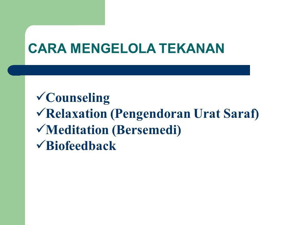 CARA MENGELOLA TEKANAN Counseling Relaxation (Pengendoran Urat Saraf) Meditation (Bersemedi) Biofeedback