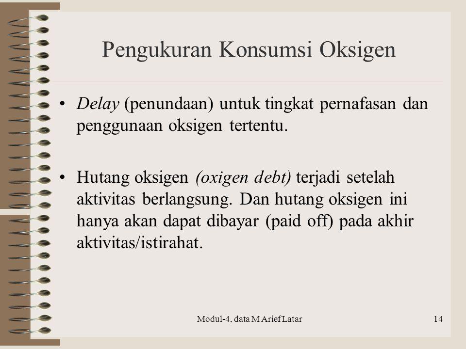 Pengukuran Konsumsi Oksigen Delay (penundaan) untuk tingkat pernafasan dan penggunaan oksigen tertentu. Hutang oksigen (oxigen debt) terjadi setelah a