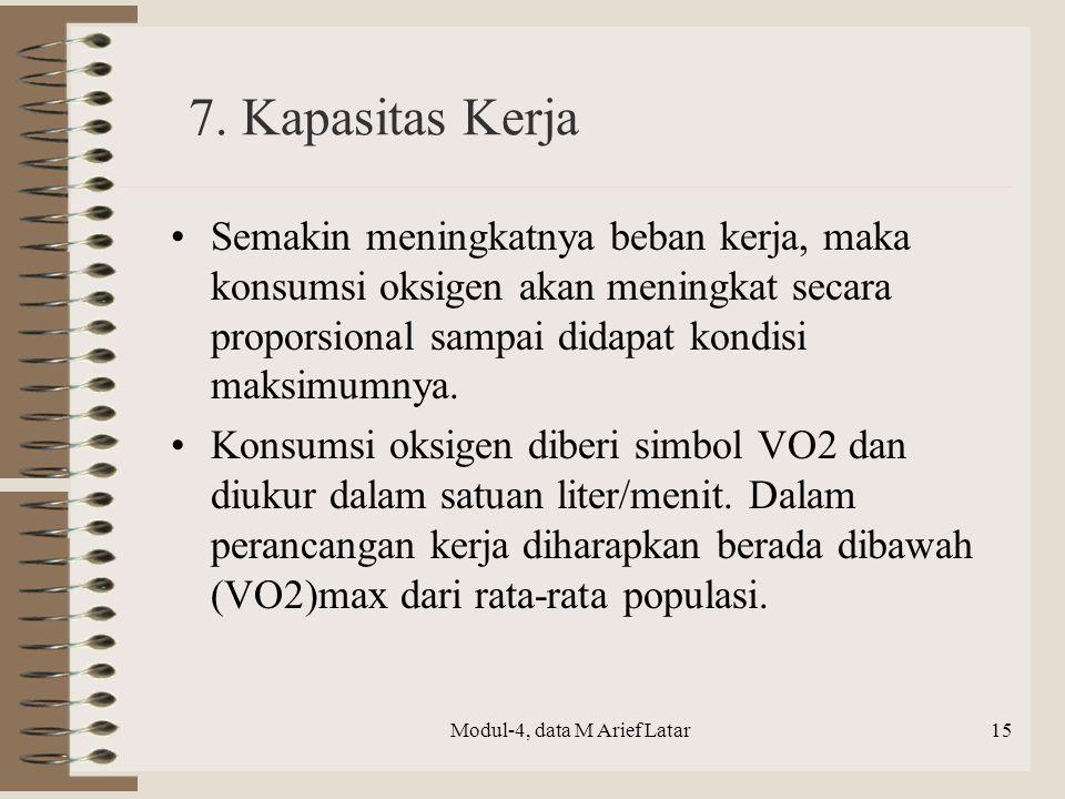7. Kapasitas Kerja Semakin meningkatnya beban kerja, maka konsumsi oksigen akan meningkat secara proporsional sampai didapat kondisi maksimumnya. Kons