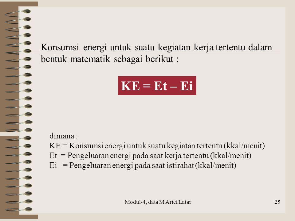 Modul-4, data M Arief Latar KE = Et – Ei Konsumsi energi untuk suatu kegiatan kerja tertentu dalam bentuk matematik sebagai berikut : dimana : KE = Ko