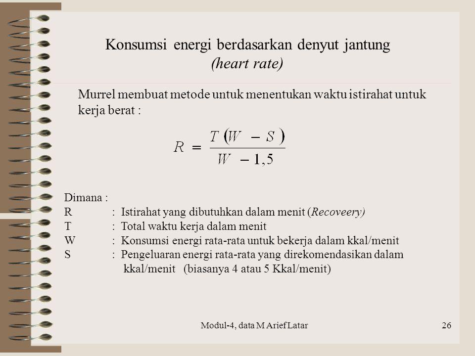 Modul-4, data M Arief Latar Konsumsi energi berdasarkan denyut jantung (heart rate) Murrel membuat metode untuk menentukan waktu istirahat untuk kerja