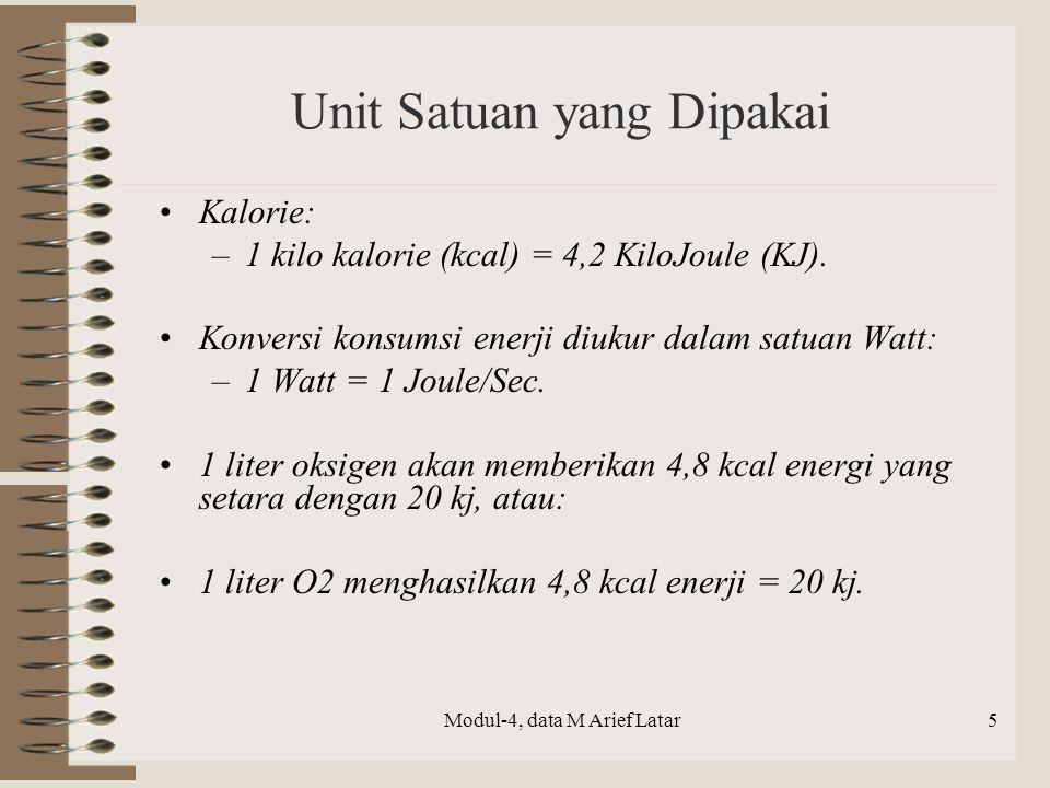 Unit Satuan yang Dipakai Kalorie: –1 kilo kalorie (kcal) = 4,2 KiloJoule (KJ). Konversi konsumsi enerji diukur dalam satuan Watt: –1 Watt = 1 Joule/Se