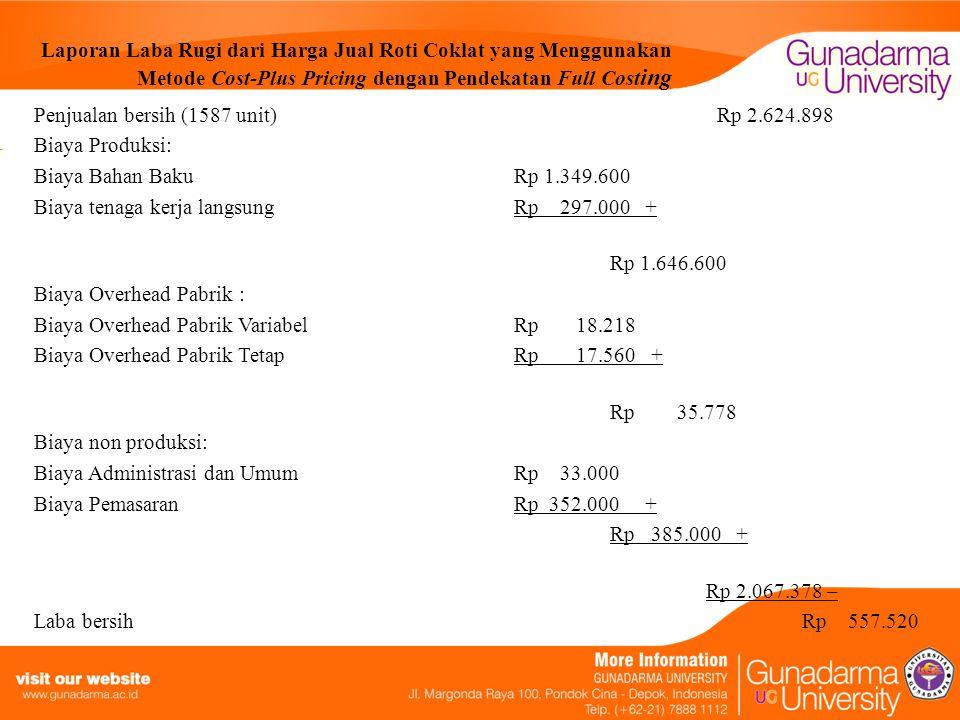 Laporan Laba Rugi dari Harga Jual Roti Coklat yang Menggunakan Metode Cost-Plus Pricing dengan Pendekatan Full Cost ing Penjualan bersih (1587 unit) R