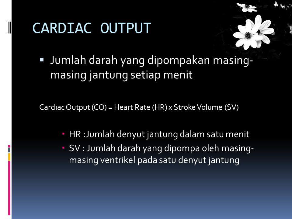 CARDIAC OUTPUT  Jumlah darah yang dipompakan masing- masing jantung setiap menit Cardiac Output (CO) = Heart Rate (HR) x Stroke Volume (SV)  HR :Jum