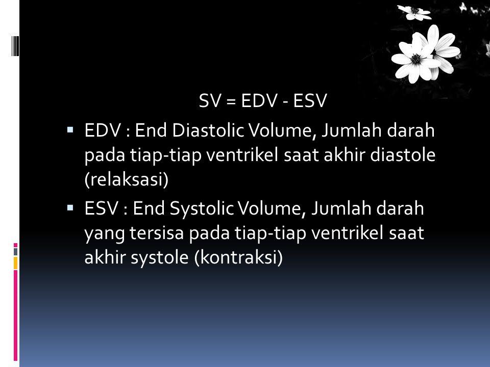 SV = EDV - ESV  EDV : End Diastolic Volume, Jumlah darah pada tiap-tiap ventrikel saat akhir diastole (relaksasi)  ESV : End Systolic Volume, Jumlah