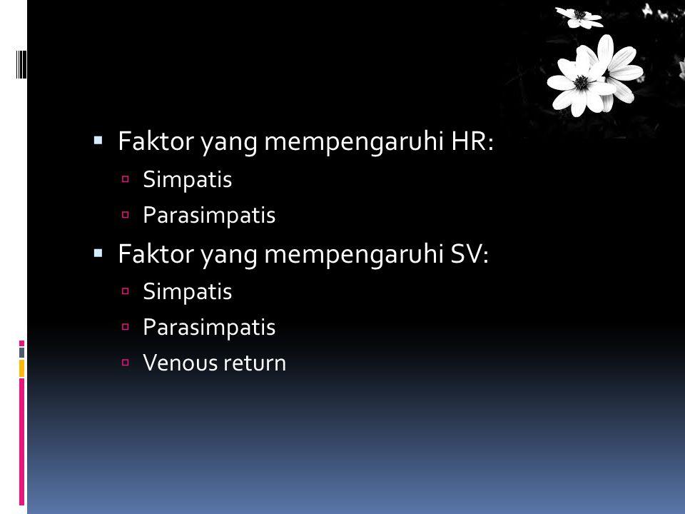  Faktor yang mempengaruhi HR:  Simpatis  Parasimpatis  Faktor yang mempengaruhi SV:  Simpatis  Parasimpatis  Venous return