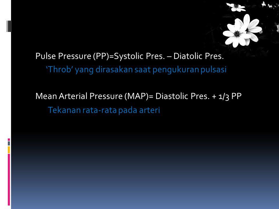 Pulse Pressure (PP)=Systolic Pres. – Diatolic Pres. 'Throb' yang dirasakan saat pengukuran pulsasi Mean Arterial Pressure (MAP)= Diastolic Pres. + 1/3