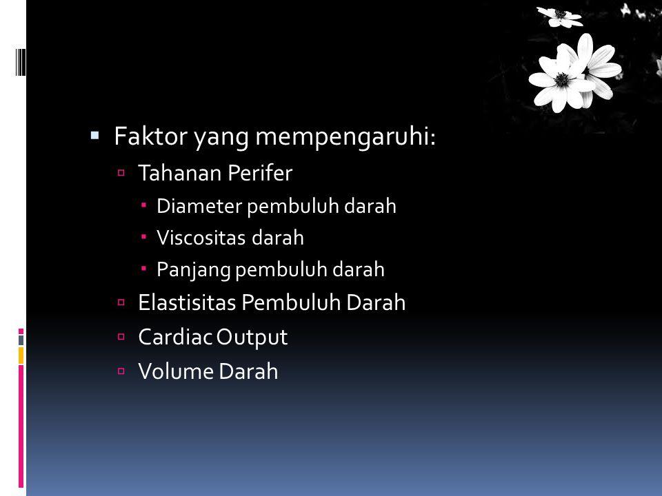  Faktor yang mempengaruhi:  Tahanan Perifer  Diameter pembuluh darah  Viscositas darah  Panjang pembuluh darah  Elastisitas Pembuluh Darah  Car