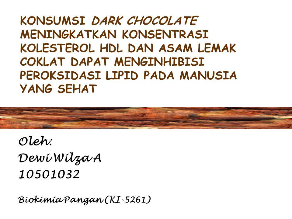 KONSUMSI DARK CHOCOLATE MENINGKATKAN KONSENTRASI KOLESTEROL HDL DAN ASAM LEMAK COKLAT DAPAT MENGINHIBISI PEROKSIDASI LIPID PADA MANUSIA YANG SEHAT Oleh: Dewi Wilza A 10501032 Biokimia Pangan (KI-5261)