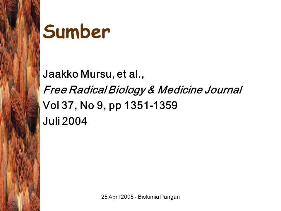 25 April 2005 - Biokimia Pangan Sumber Jaakko Mursu, et al., Free Radical Biology & Medicine Journal Vol 37, No 9, pp 1351-1359 Juli 2004