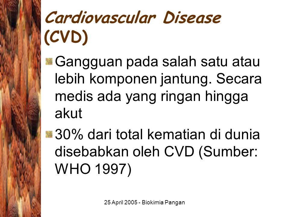 25 April 2005 - Biokimia Pangan Cardiovascular Disease (CVD) Gangguan pada salah satu atau lebih komponen jantung.