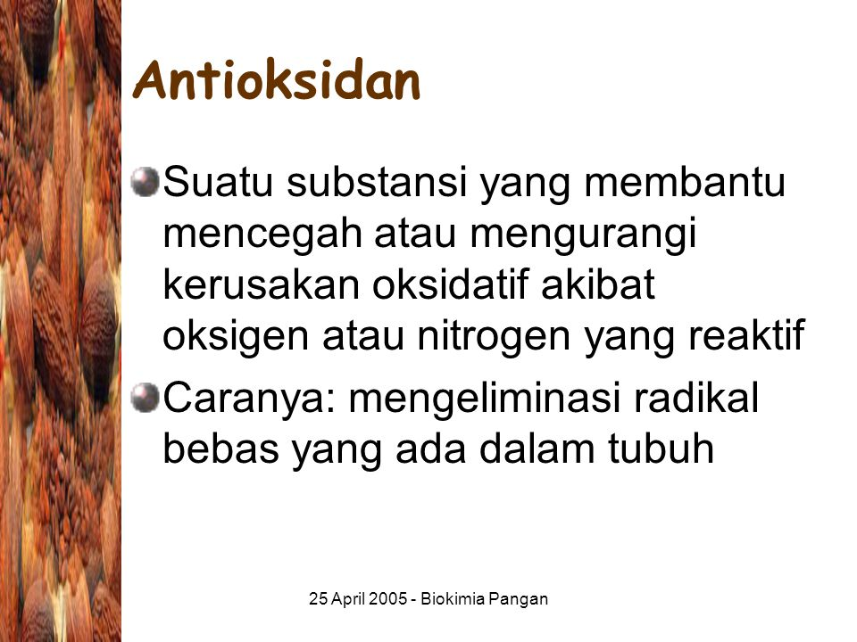 25 April 2005 - Biokimia Pangan Antioksidan Suatu substansi yang membantu mencegah atau mengurangi kerusakan oksidatif akibat oksigen atau nitrogen yang reaktif Caranya: mengeliminasi radikal bebas yang ada dalam tubuh