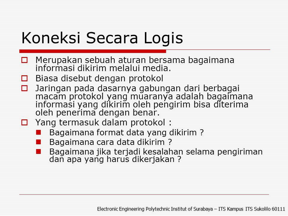 Electronic Engineering Polytechnic Institut of Surabaya – ITS Kampus ITS Sukolilo 60111 Koneksi Secara Logis  Merupakan sebuah aturan bersama bagaimana informasi dikirim melalui media.