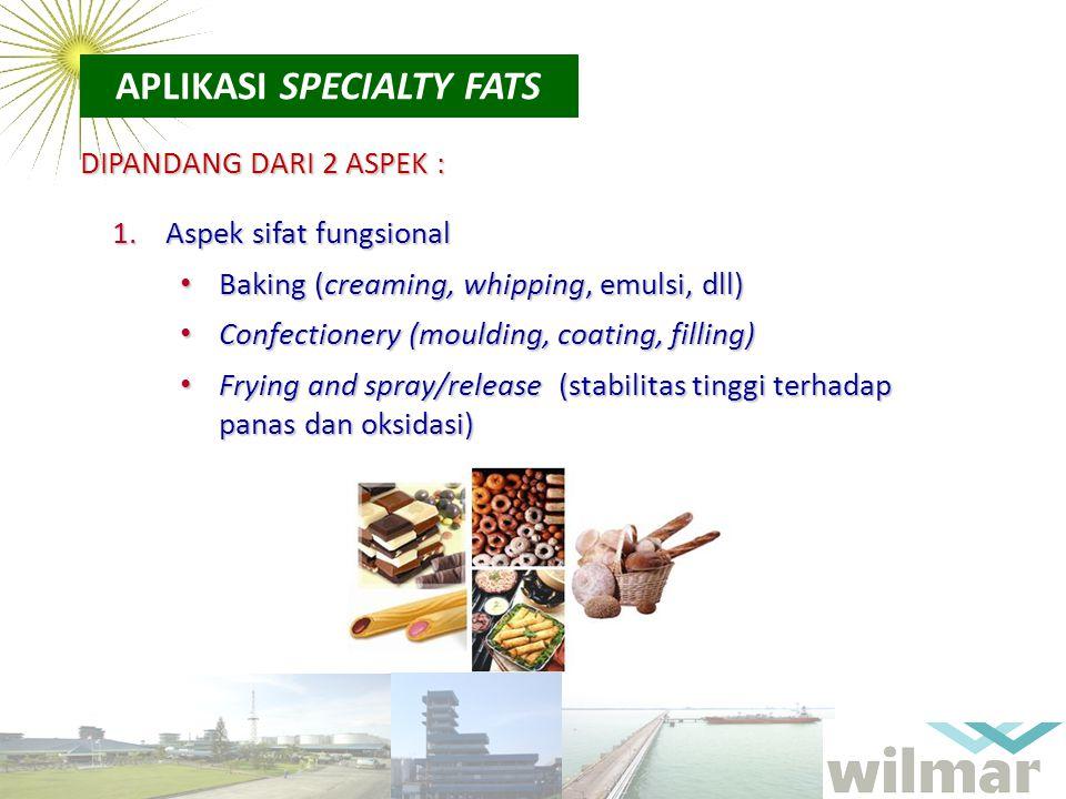 APLIKASI SPECIALTY FATS DIPANDANG DARI 2 ASPEK : 1.Aspek sifat fungsional Baking (creaming, whipping, emulsi, dll) Baking (creaming, whipping, emulsi,