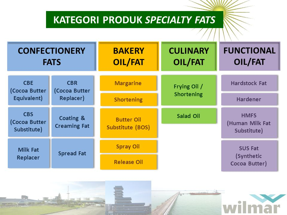 KATEGORI PRODUK SPECIALTY FATS CONFECTIONERY FATS BAKERY OIL/FAT CULINARY OIL/FAT FUNCTIONAL OIL/FAT CBE (Cocoa Butter Equivalent) CBE (Cocoa Butter E