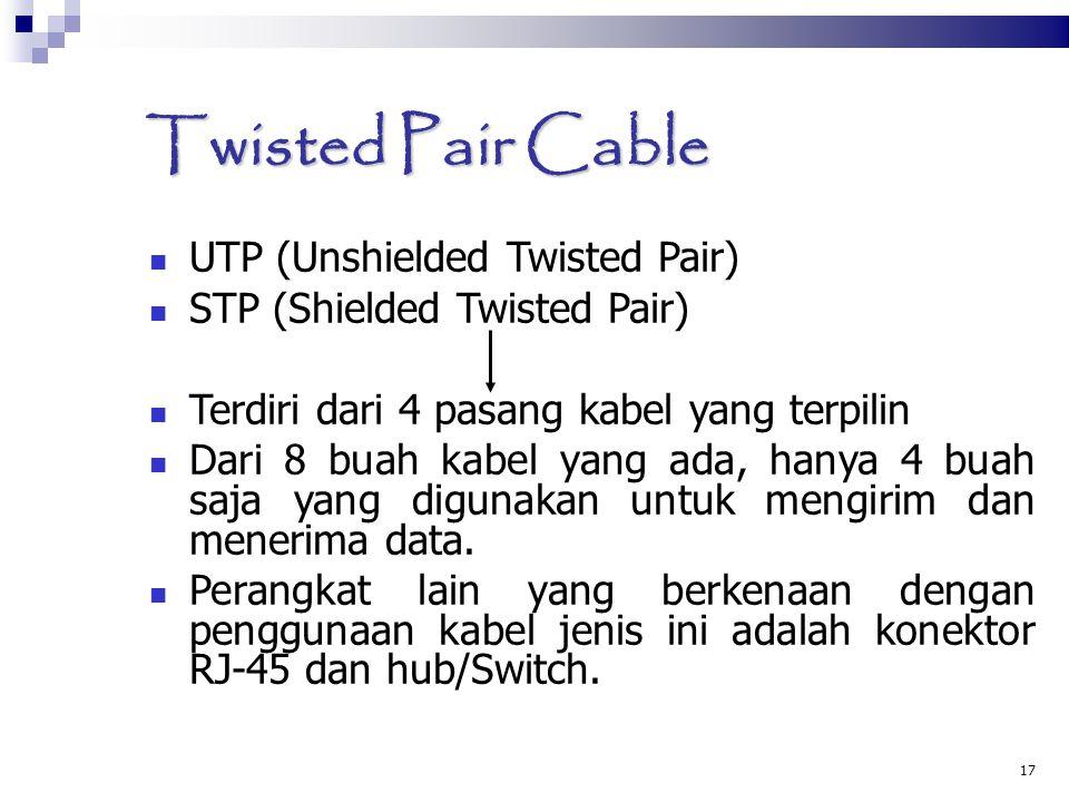 17 Twisted Pair Cable UTP (Unshielded Twisted Pair) STP (Shielded Twisted Pair) Terdiri dari 4 pasang kabel yang terpilin Dari 8 buah kabel yang ada