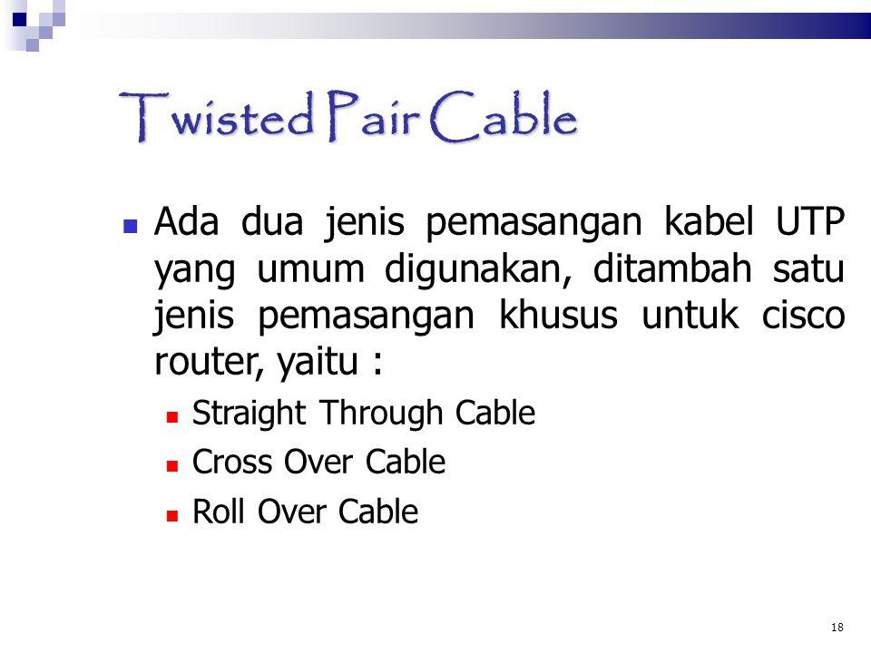 18 Twisted Pair Cable Ada dua jenis pemasangan kabel UTP yang umum digunakan, ditambah satu jenis pemasangan khusus untuk cisco router, yaitu : Straig