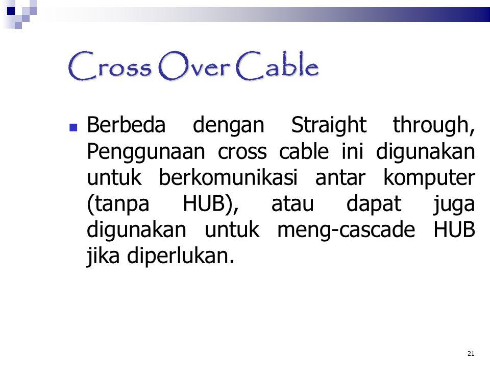 21 Cross Over Cable Berbeda dengan Straight through, Penggunaan cross cable ini digunakan untuk berkomunikasi antar komputer (tanpa HUB), atau dapat j