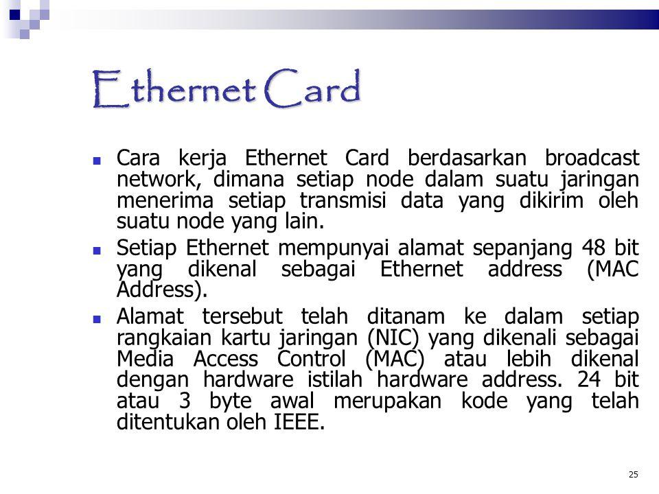 25 Ethernet Card Cara kerja Ethernet Card berdasarkan broadcast network, dimana setiap node dalam suatu jaringan menerima setiap transmisi data yang d