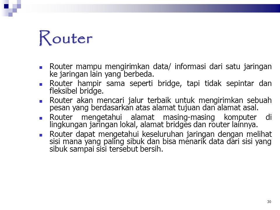 30 Router Router mampu mengirimkan data/ informasi dari satu jaringan ke jaringan lain yang berbeda. Router hampir sama seperti bridge, tapi tidak sep