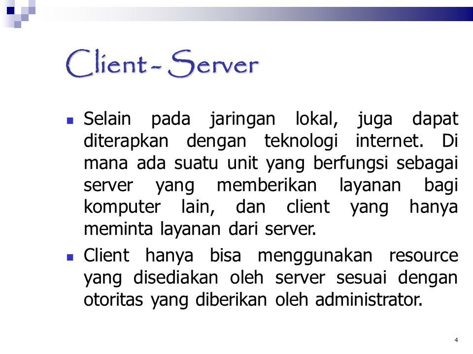 4 Client - Server Selain pada jaringan lokal, juga dapat diterapkan dengan teknologi internet. Di mana ada suatu unit yang berfungsi sebagai server ya