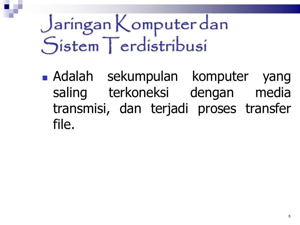 6 Jaringan Komputer dan Sistem Terdistribusi Adalah sekumpulan komputer yang saling terkoneksi dengan media transmisi, dan terjadi proses transfer fil