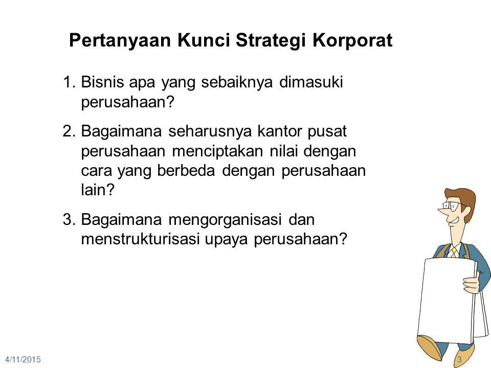 4/11/20153 Pertanyaan Kunci Strategi Korporat 1.Bisnis apa yang sebaiknya dimasuki perusahaan? 2.Bagaimana seharusnya kantor pusat perusahaan mencipta