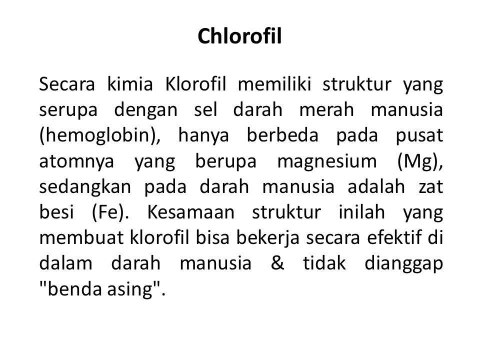 Chlorofil Secara kimia Klorofil memiliki struktur yang serupa dengan sel darah merah manusia (hemoglobin), hanya berbeda pada pusat atomnya yang berup