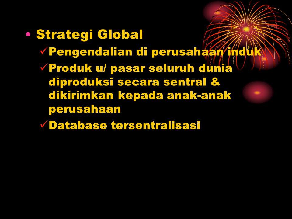 Strategi Global Pengendalian di perusahaan induk Produk u/ pasar seluruh dunia diproduksi secara sentral & dikirimkan kepada anak-anak perusahaan Data