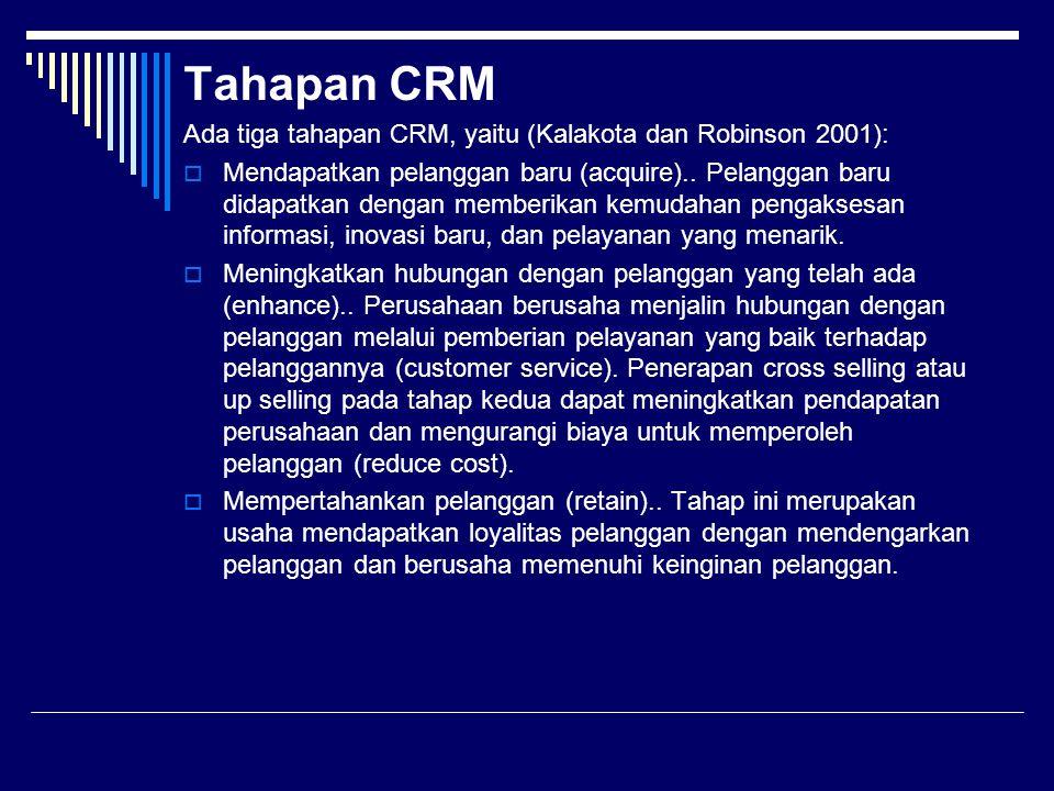 Tahapan CRM Ada tiga tahapan CRM, yaitu (Kalakota dan Robinson 2001):  Mendapatkan pelanggan baru (acquire).. Pelanggan baru didapatkan dengan member