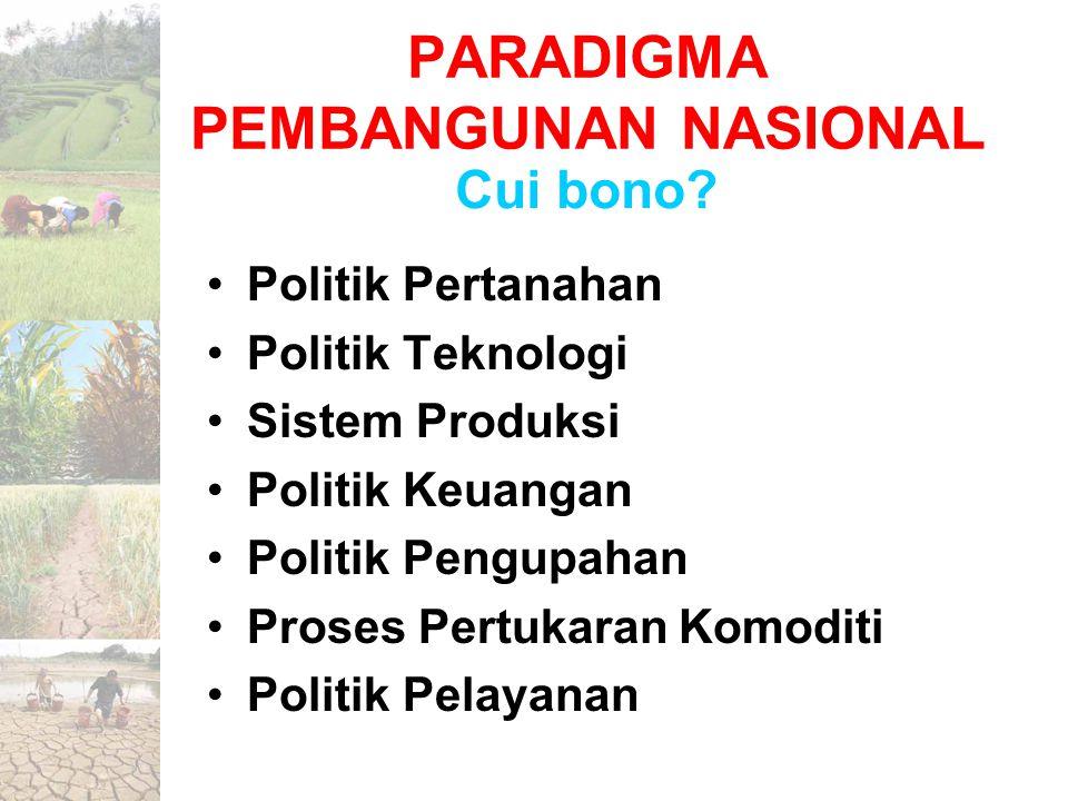 PARADIGMA PEMBANGUNAN NASIONAL Politik Pertanahan Politik Teknologi Sistem Produksi Politik Keuangan Politik Pengupahan Proses Pertukaran Komoditi Pol