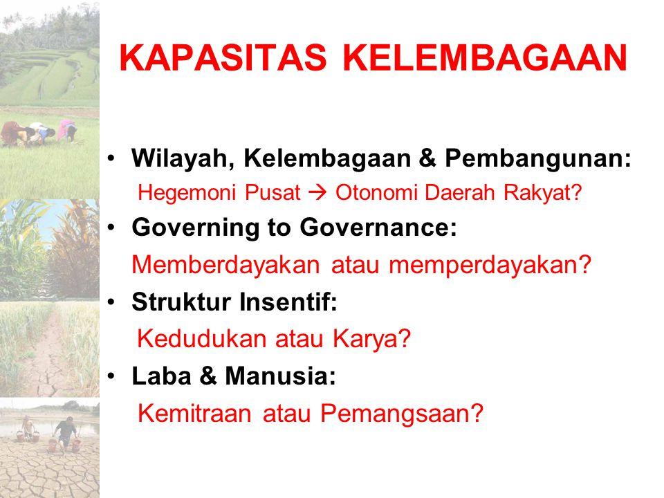 KAPASITAS KELEMBAGAAN Wilayah, Kelembagaan & Pembangunan: Hegemoni Pusat  Otonomi Daerah Rakyat? Governing to Governance: Memberdayakan atau memperda