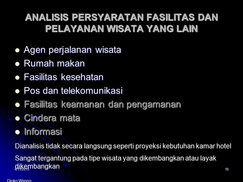 4/11/201510 ANALISIS PERSYARATAN FASILITAS DAN PELAYANAN WISATA YANG LAIN Agen perjalanan wisata Agen perjalanan wisata Rumah makan Rumah makan Fasili