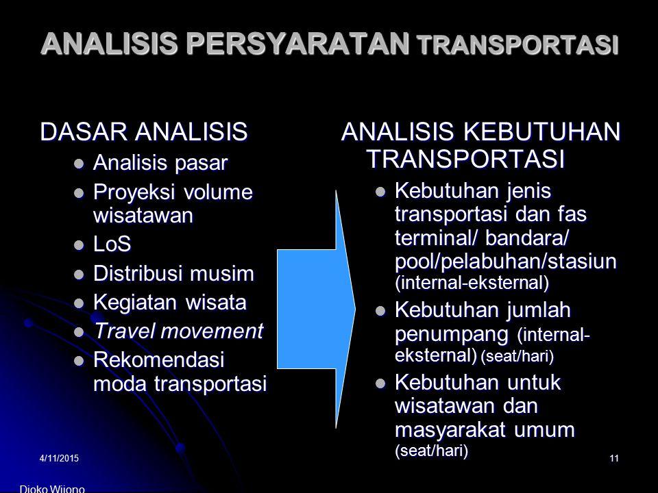 4/11/201511 ANALISIS PERSYARATAN TRANSPORTASI DASAR ANALISIS Analisis pasar Analisis pasar Proyeksi volume wisatawan Proyeksi volume wisatawan LoS LoS
