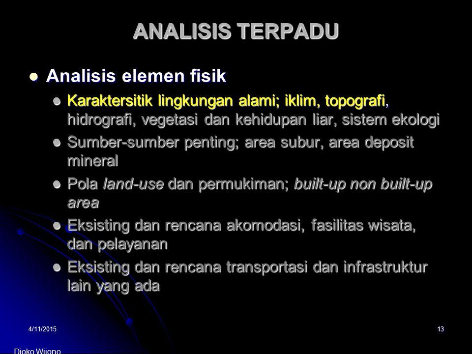 4/11/201513 ANALISIS TERPADU Analisis elemen fisik Analisis elemen fisik Karaktersitik lingkungan alami; iklim, topografi, hidrografi, vegetasi dan ke