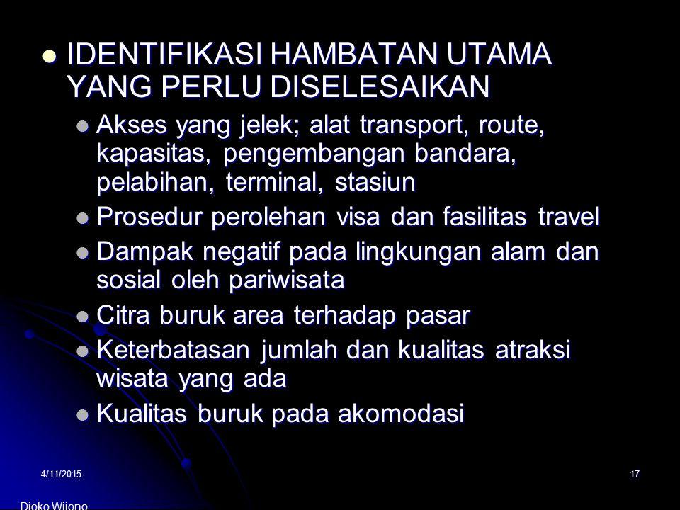 4/11/201517 IDENTIFIKASI HAMBATAN UTAMA YANG PERLU DISELESAIKAN IDENTIFIKASI HAMBATAN UTAMA YANG PERLU DISELESAIKAN Akses yang jelek; alat transport,