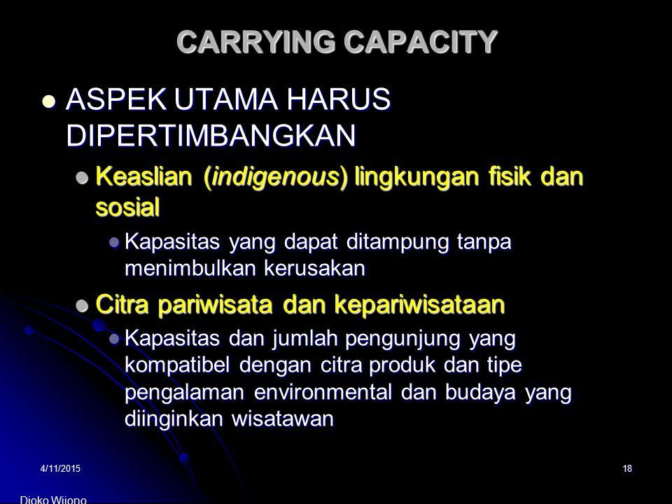4/11/201518 CARRYING CAPACITY ASPEK UTAMA HARUS DIPERTIMBANGKAN ASPEK UTAMA HARUS DIPERTIMBANGKAN Keaslian (indigenous) lingkungan fisik dan sosial Ke