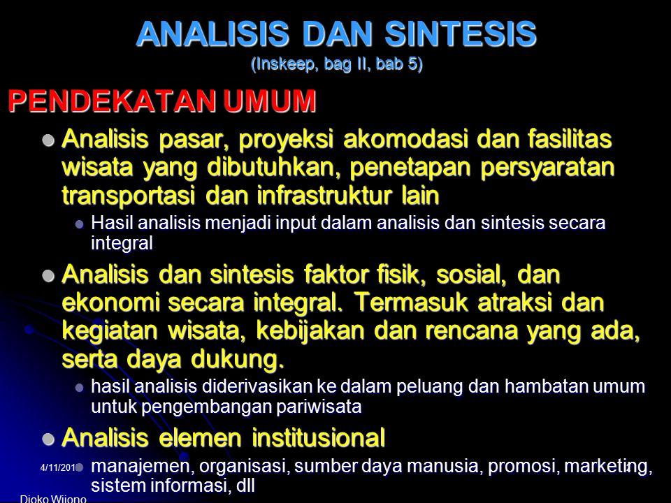 4/11/20152 ANALISIS DAN SINTESIS (Inskeep, bag II, bab 5) PENDEKATAN UMUM Analisis pasar, proyeksi akomodasi dan fasilitas wisata yang dibutuhkan, pen