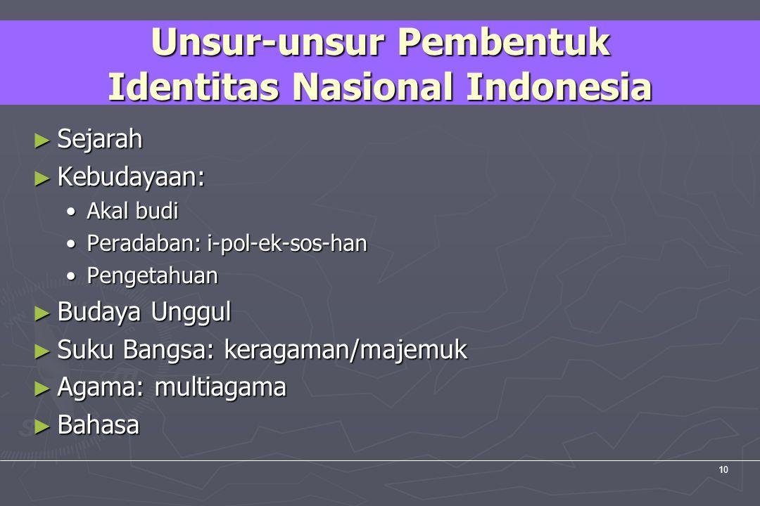 UM10-080 PANCASILA DAN KEWARGANEGARAAN 10 Unsur-unsur Pembentuk Identitas Nasional Indonesia ► Sejarah ► Kebudayaan: Akal budiAkal budi Peradaban: i-p