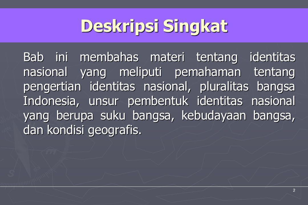 UM10-080 PANCASILA DAN KEWARGANEGARAAN 2 Bab ini membahas materi tentang identitas nasional yang meliputi pemahaman tentang pengertian identitas nasio
