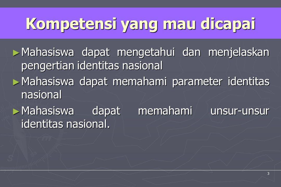 UM10-080 PANCASILA DAN KEWARGANEGARAAN 3 ► Mahasiswa dapat mengetahui dan menjelaskan pengertian identitas nasional ► Mahasiswa dapat memahami paramet