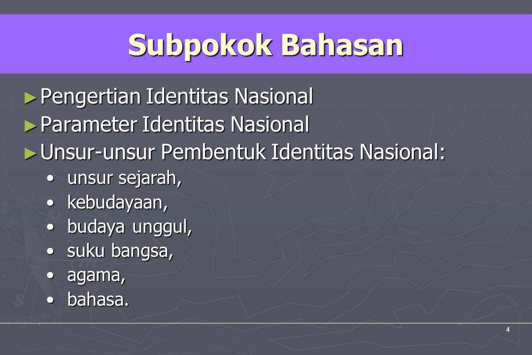 UM10-080 PANCASILA DAN KEWARGANEGARAAN 4 ► Pengertian Identitas Nasional ► Parameter Identitas Nasional ► Unsur-unsur Pembentuk Identitas Nasional: un