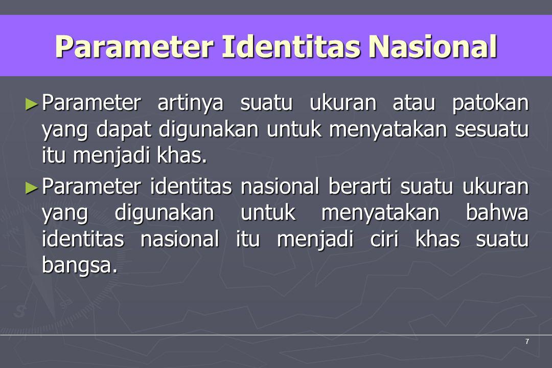 UM10-080 PANCASILA DAN KEWARGANEGARAAN 7 Parameter Identitas Nasional ► Parameter artinya suatu ukuran atau patokan yang dapat digunakan untuk menyata