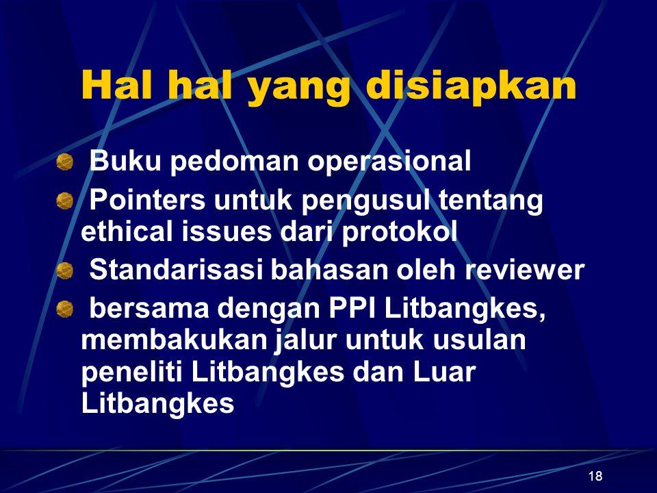 18 Hal hal yang disiapkan Buku pedoman operasional Pointers untuk pengusul tentang ethical issues dari protokol Standarisasi bahasan oleh reviewer ber
