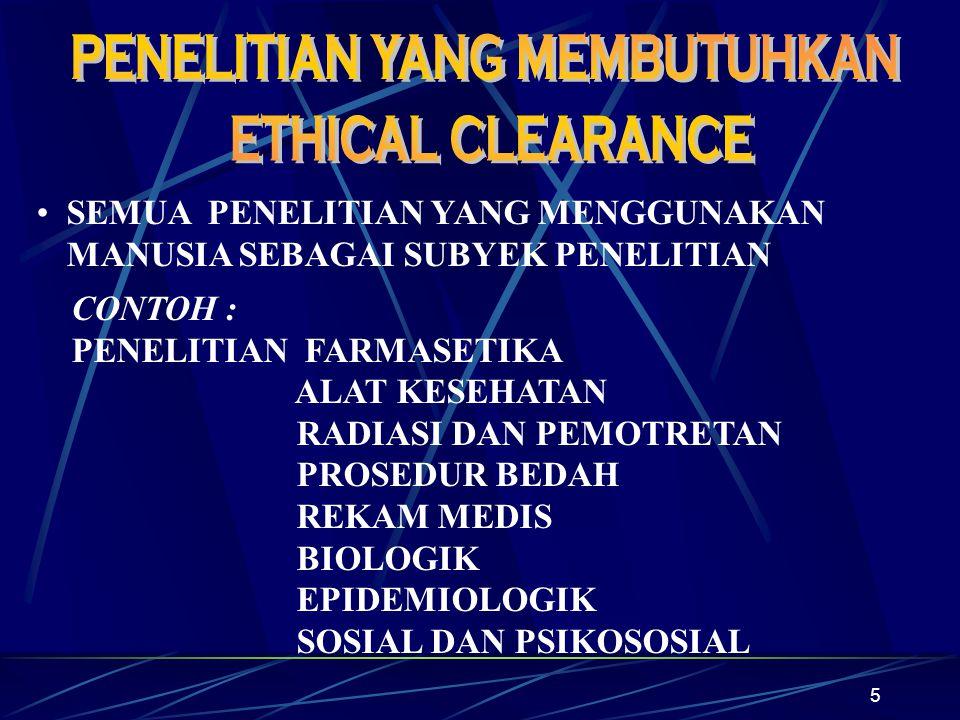 6 PENELITIAN DENGAN SUBYEK PENELITIAN BINATANG: Belum diketahui lembaga lain yang mengeluarkan Ethical Clearance untuk binatang.
