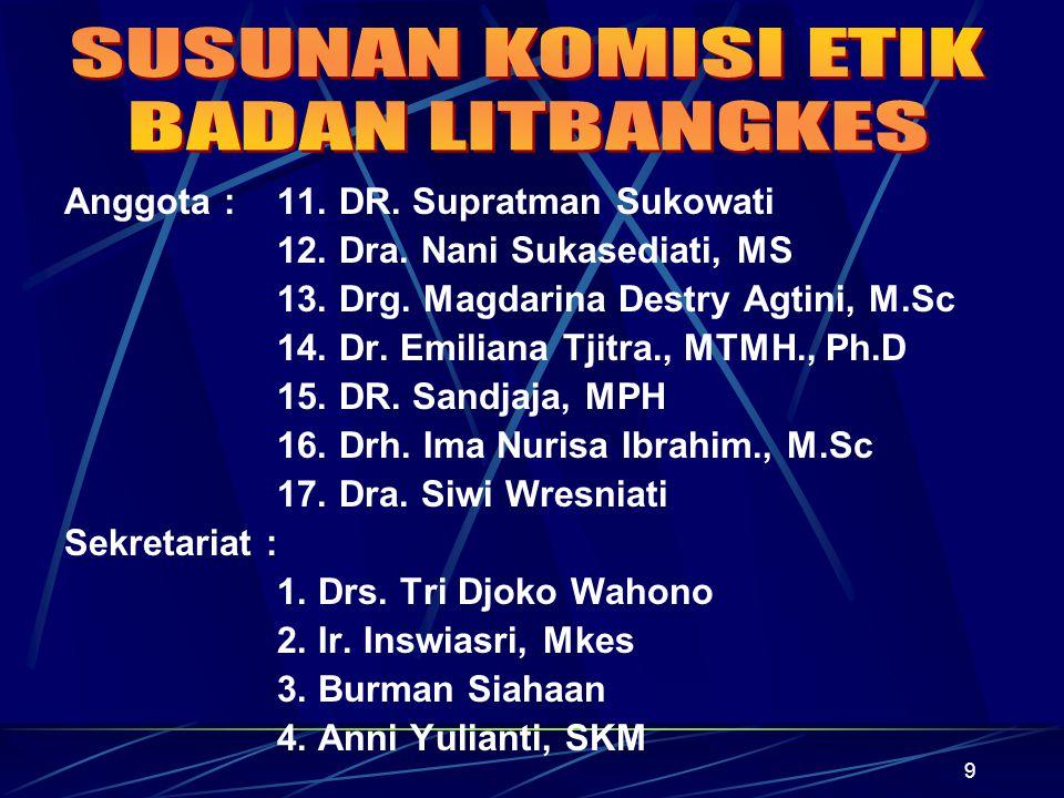9 Anggota : 11. DR. Supratman Sukowati 12. Dra. Nani Sukasediati, MS 13. Drg. Magdarina Destry Agtini, M.Sc 14. Dr. Emiliana Tjitra., MTMH., Ph.D 15.